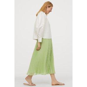 H&M薄荷绿半身长裙