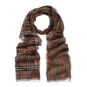 Burberry格纹真丝羊绒围巾