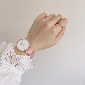 $144.04(官网原价$205)最后一只:Daniel Wellington 新品简约粉色织纹32mm腕表