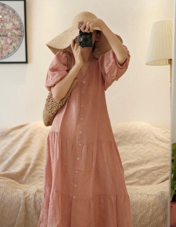 蜜桃色蛋糕裙
