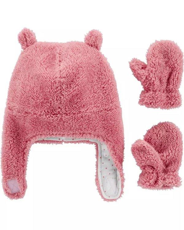 婴儿羊羔绒帽子手套套装