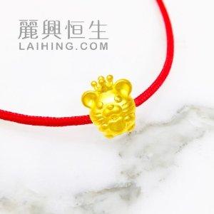 24K千足金可爱小鼠手鏈(3D硬金)