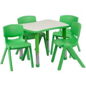 $188(原价$289.99)史低价:Flash Furniture 可调节高度 儿童活动桌椅5件套 商用级