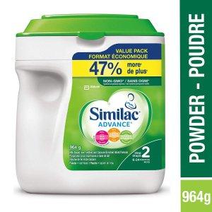 $37.6(原价$43.98)Similac 雅培advance step 2 配方奶粉大罐装964g 不含转基因