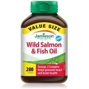 $14.78(原价$19.56)Jamieson 健美生 野生三文鱼油 Omega-3胶囊 280粒超值装
