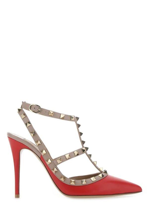 红色铆钉高跟鞋