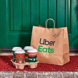 满额免送餐费+首两单立减$5Uber Eats 新用户手机下单购买星巴克饮品