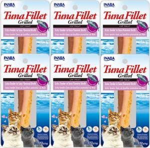 Inaba Ciao Grain-Free Grilled Tuna Fillet Extra Tender in Tuna Flavored Broth Cat Treat, 0.52-oz pouch, pack of 6 - Chewy.com