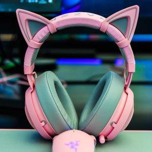 $119.99(原价$151.98)Razer Kraken+猫耳朵粉晶版套装 超级少女