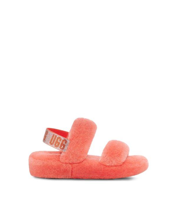 水钻毛拖鞋