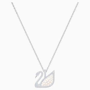 SwarovskiIconic Swan Pendant, White, Rhodium plated by