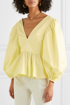 STAUD | Luna ruffled cotton-blend poplin blouse | NET-A-PORTER.COM