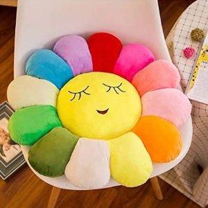$28.99(原价$31.54)彩虹向日葵坐垫 软萌床头靠枕 舒适天鹅绒面料PP棉持久弹性