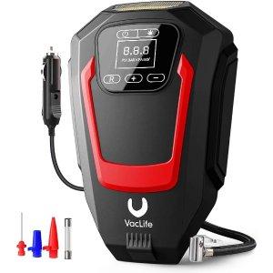 VacLife 便携数字汽车轮胎充气泵 DC 12V供电 自带LED夜灯