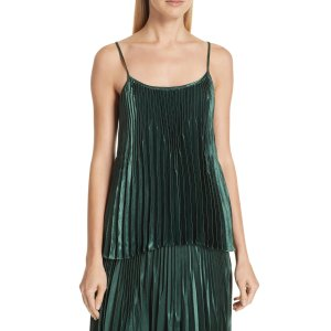 VinceChevron Pleated Satin Tank Top