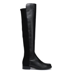 Stuart WeitzmanJersey-paneled leather knee boots
