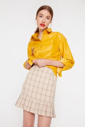 Daisy Street Check Skirt with Frill Hem
