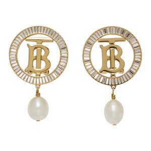Burberry珍珠logo耳环