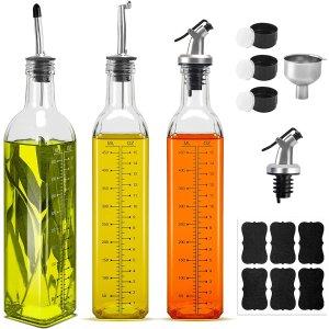 BAKHUK 玻璃油/醋瓶3个+不锈钢漏斗+备用壶嘴+标签