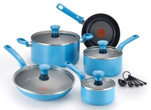 T-fal C512SE Excite Nonstick Thermo-Spot Dishwasher Safe Oven Safe PFOA Free Cookware Set, 14-Piece, Blue