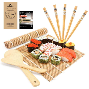 仅今天!折后仅€9.34MUDEELA 超值寿司套装 含2个竹帘、2个木铲、5双筷子、食谱