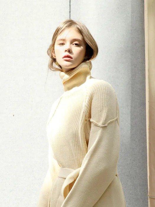 高领毛衣系带裙