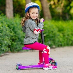 立减$10 平衡车滑板车自如切换SKIDEE 儿童2合1可折叠滑板车热卖,车轮闪闪发光惹人爱