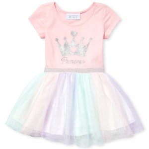 The Children's PlaceBaby And Toddler Girls Short Sleeve Glitter 'Princess' Knit To Woven Tutu Dress