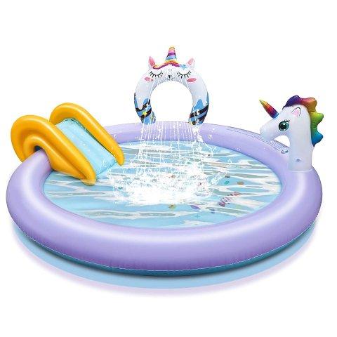 $39.99 (原价$89.89)KIDCHEER 独角兽儿童充气游泳池+水滑梯 给宝宝快乐夏天