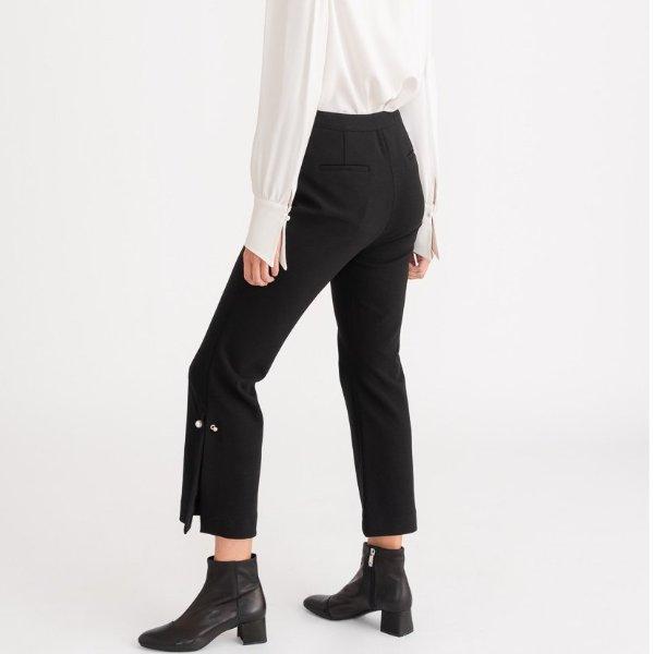 珍珠扣阔腿裤