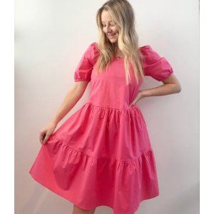 LOFT OutletPuff Sleeve Tiered Dress