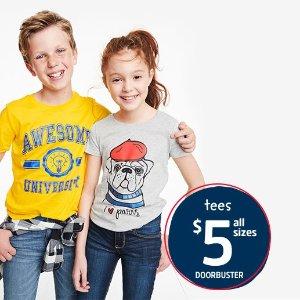 所有尺寸一律$5上新:OshKosh BGosh 儿童T恤优惠 0-14岁尺码都有