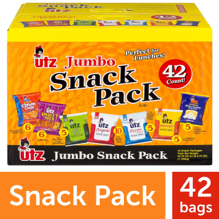 $12.98 一包只需$0.31Utz 零食包多口味珍宝装 43.25oz 共42包