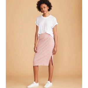 LOFTLou & Grey Gingham Midi Skirt   LOFT