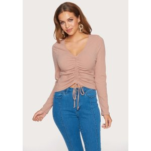 Bebe20% off $150 with code AUG2019Rib L/S Ruched Top