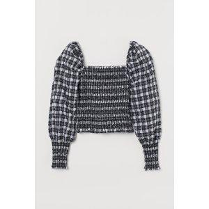 H&M格纹方领衬衫上衣