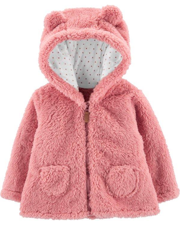 婴儿羊羔绒连帽外套