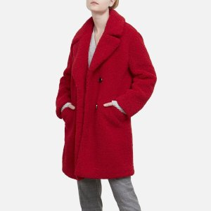 Kenneth Cole Reaction$25 off $150+Red Faux Fur Coat with Notch Collar