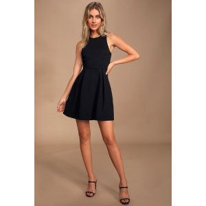 LULUSCutout and About Black Skater Dress