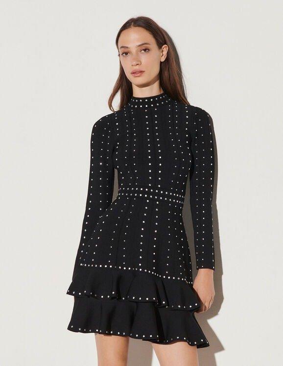 水钻针织连衣裙