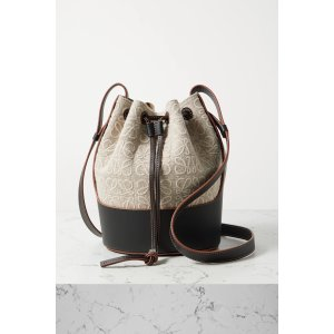 LoeweBalloon small embroidered canvas and leather bucket bag
