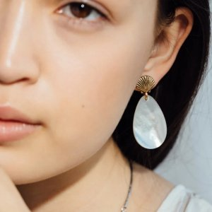 Alex and AniMother of Pearl Shell Statement Earrings