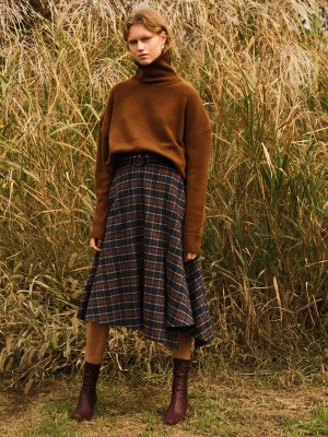 Asymmetric Belted Check Wool Skirt Apa260W Brown  | W Concept