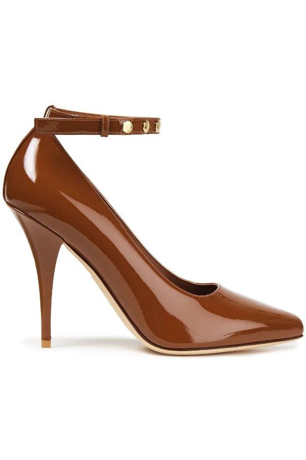 Studded巧克力色高跟鞋