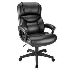 Realspace Fennington High-Back Bonded Leather Chair, Black/Black