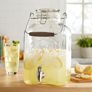 Better Homes & Gardens2 Gallon Glass Beverage Dispenser with Glass Clamp Lid