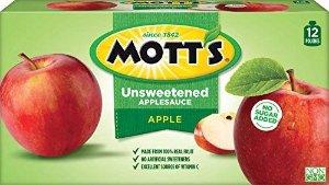 $6.19 每袋不到$0.5Mott's 无糖苹果泥3.2Oz 12袋