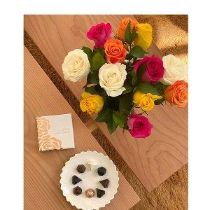 鲜花+花瓶+巧克力
