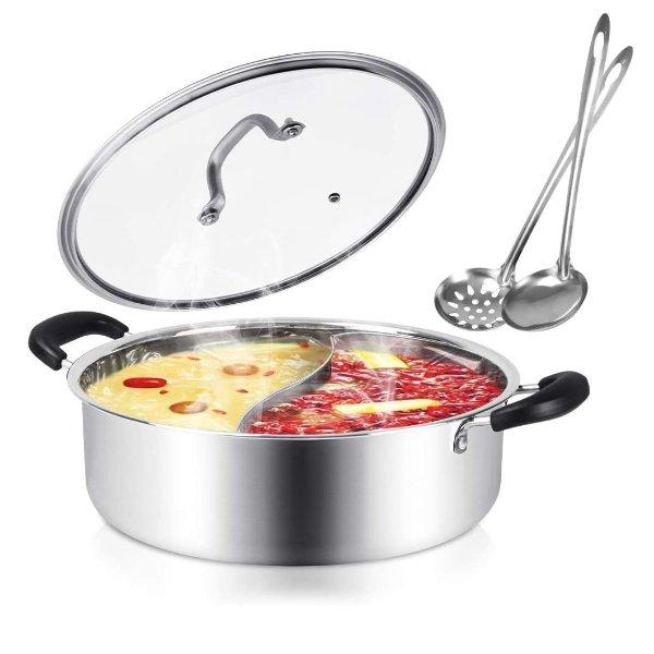 Kerykwan 不锈钢鸳鸯锅 带盖子+汤勺