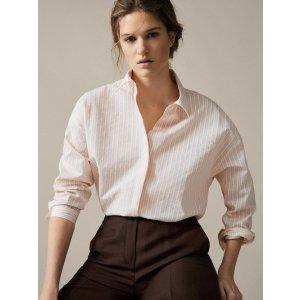 条纹棉麻混纺衬衫